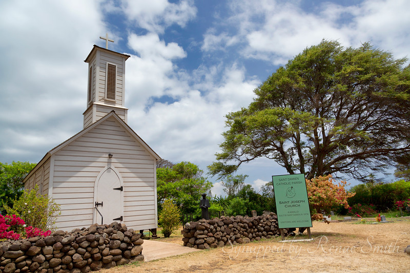 One of several churches built by Father Damien, who was later made a saint for his work with the lepers on Molokai.  He eventually died of leprosy himself.