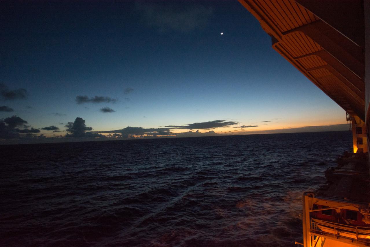 Sunrise, arriving in Nawilili Bay, Kauai