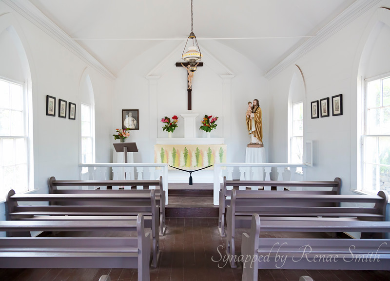The interior of Father Damien's church