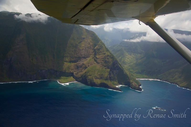 Flying along the coastline of Molokai, Hawaii, the highest sea cliffs in the world.