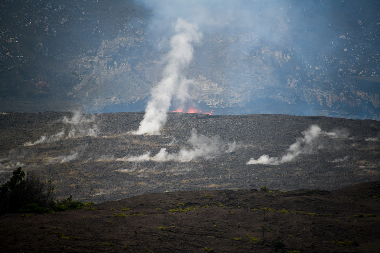 Lava seen bubbling up from the Halema'uma'u Crater inside the Kiluea Caldera, Big Island, HI - March 2018