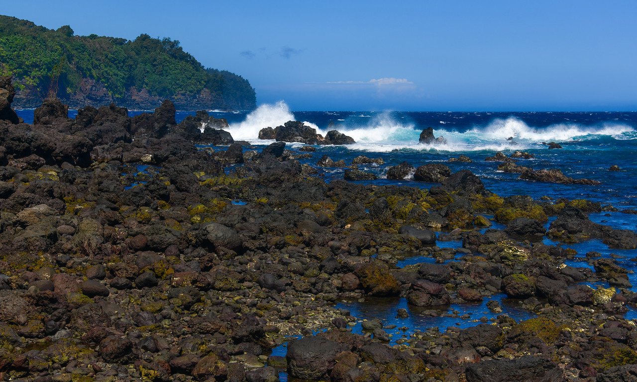 Lava rocks and rough surf at Laupahoehoe Point on the Hamakua Coast of the Big Island, HI - March 2018