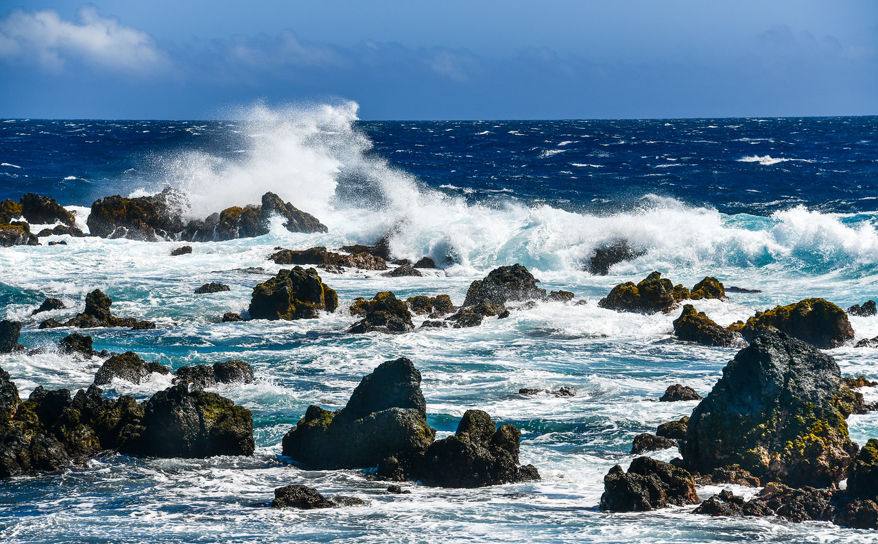 Rough surf at Laupahoehoe Point on the Hamakua Coast of the Big Island, HI - March 2018
