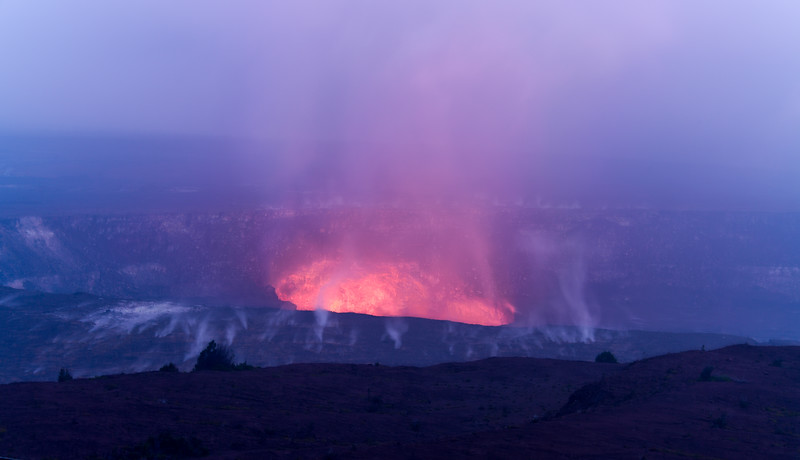 Early evening lava glow from the Halema'uma'u Crater (inside Kilauea Caldera) at Volcanoes National Park, HI - March 2018