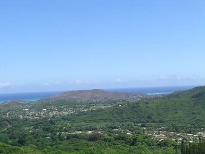 Another view from the Pali, we take this highway to Honolulu, the town you see is Kaneohe Bay about 10 miles south of us.