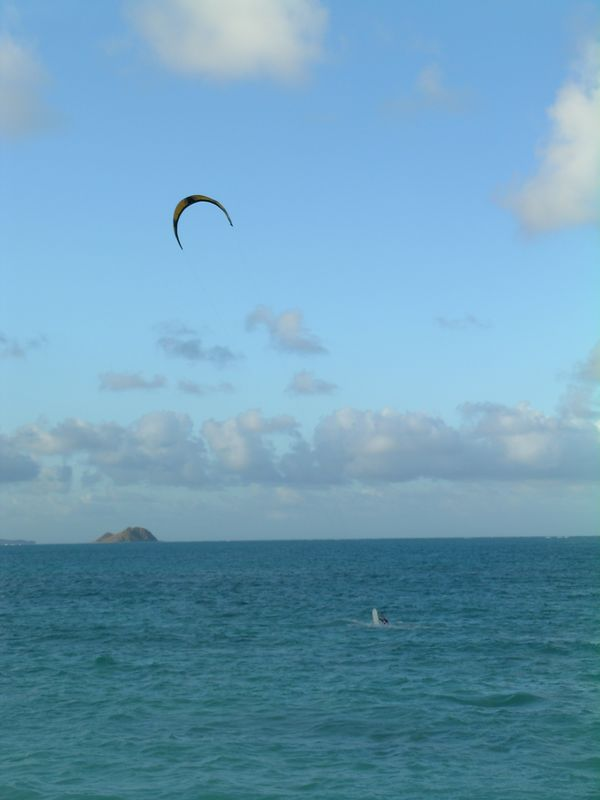 Not a great shot but we watched this fellow Kite surfing on Wiamanalo beach on the Windward side.
