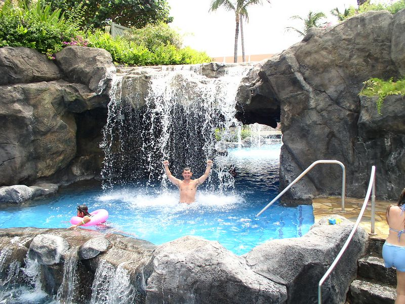 A waterfall at the hotel