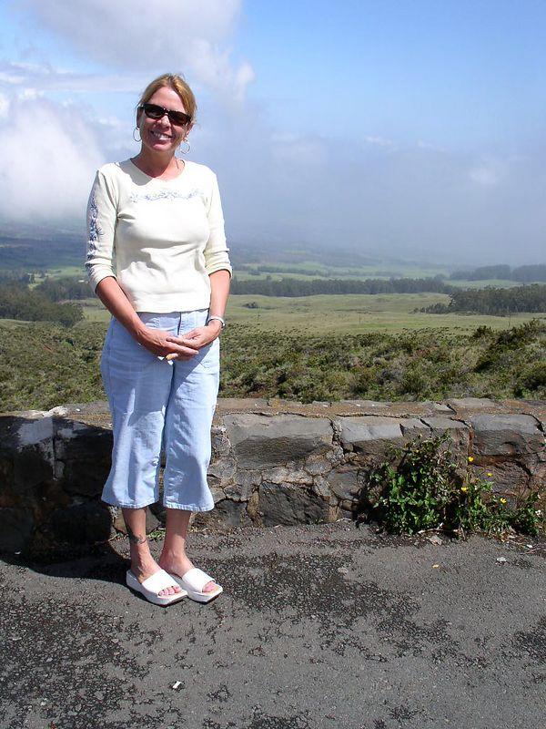 Lois on the way to the haeakala Volcano