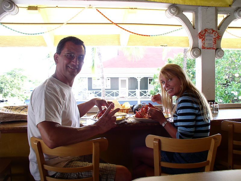 Us eating lobster at the Whales Tail
