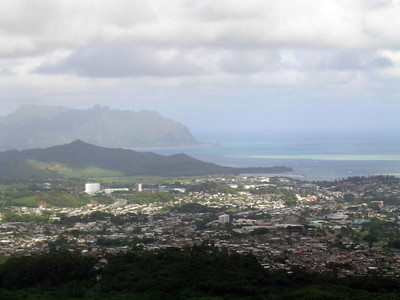 A viw from the Pali lookout, the town below is Kaneohe Bay