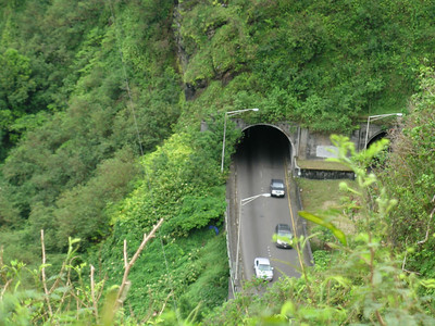 Looking down on the Pali Highway from the lookout, those tunnels run right through the mountains.