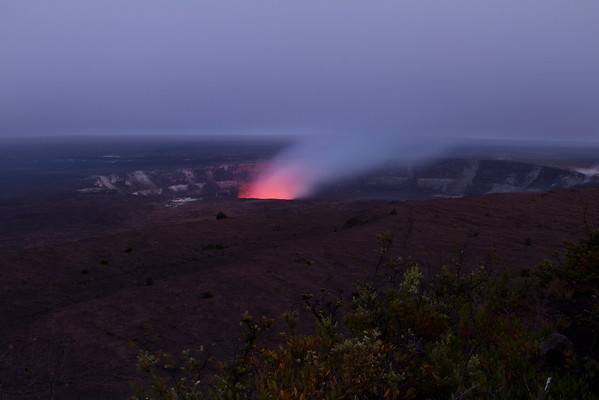 Halema'uma'u Crater Glowing At Sunset, Big Island, Hawaii