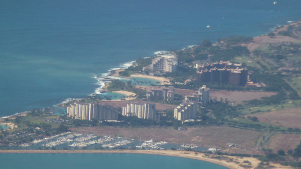 Ko-Olina Resort - view from airplane. This trip we stayed in the second building from the left.
