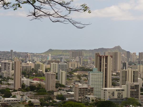 View from Honolulu to Diamond Head, Oahu, Hawaii