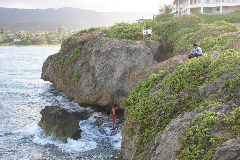 La'ie Point.  These folks had just jumped from the rock