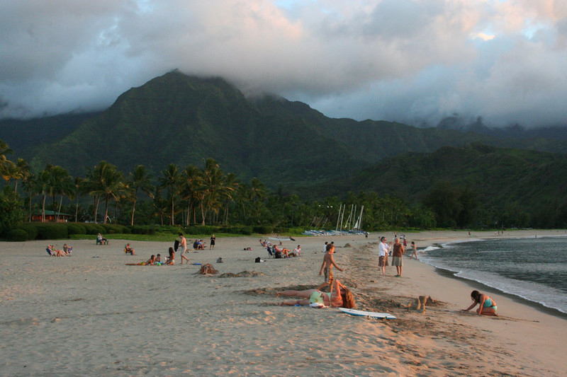Sunset at Hanalei Beach.  Now this is laid back!