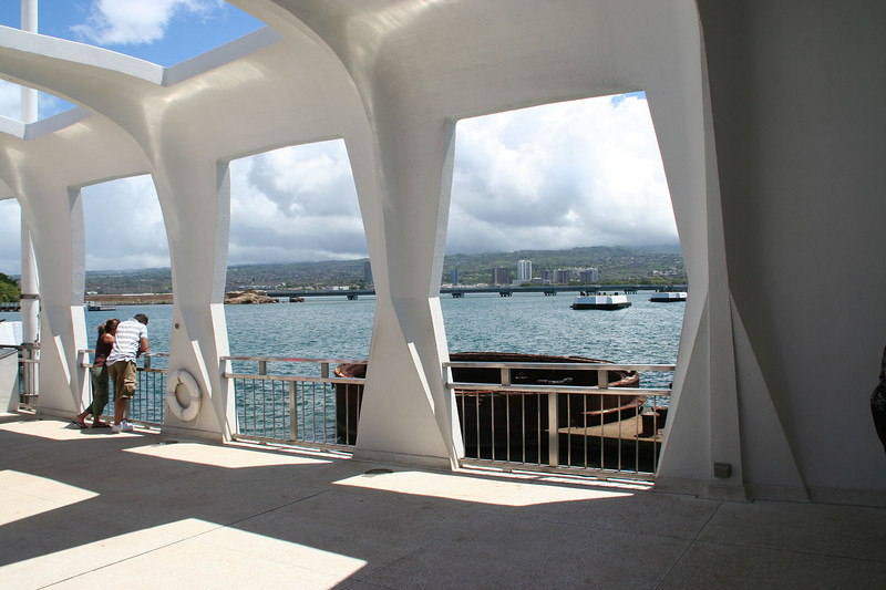 Arizona Memorial.  It's built directly above the sunken USS Arizona battleship, part of which is still above the water, outside the window.