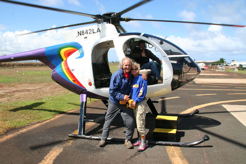 "I survived.  Becky, me, Jason and the <a href=""http://www.helicopters-kauai.com/air.html#hughes500""><span style=""color:#388E8E;"">Hughes 500</span></a>.  Let's do it again!"
