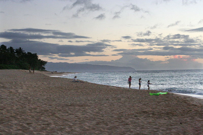 Sunset at North Shore's Sunset Beach.  Our last night on Oahu.