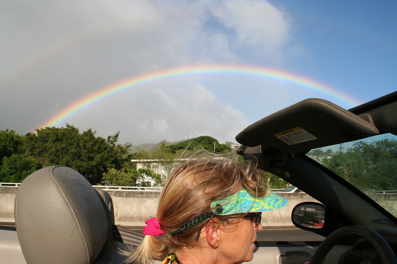 Our first (of many) rainbows.  Honolulu traffic. I think we had rainbows every day.