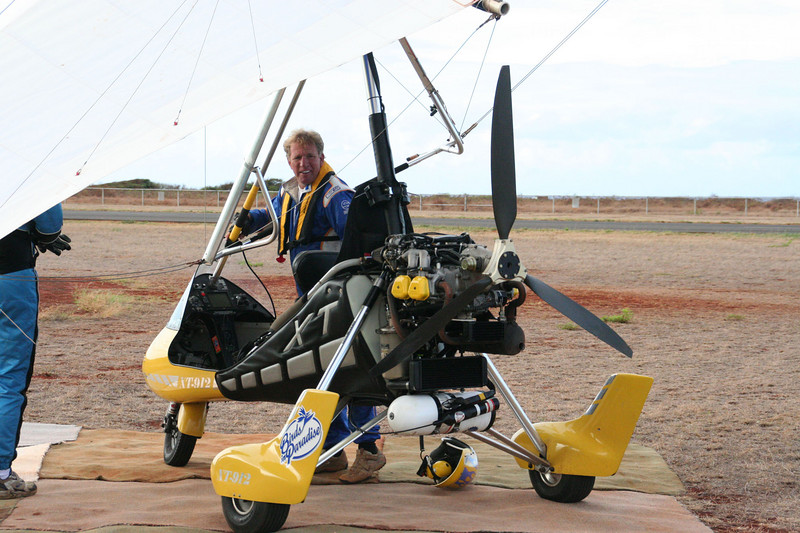 "Gerry Charlebois, with his ""trike"", a powered hang glider."