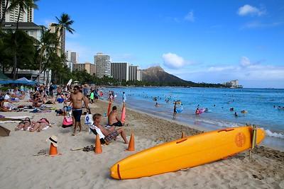 Waikiki Beach, Honolulu. O'ahu, Hawaii, USA.
