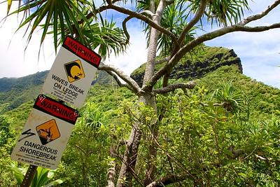 Eindpunt wandeling Keé Beach - Hanakaoia'i Beach. Nā Pali Coast State Park, Kaua'i, Hawaii, USA.