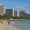 Waikiki Beach and hotels looking toward Diamond Head Crater.<br /> August 21, 2015