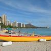 An outrigger canoe on Waikiki Beach.