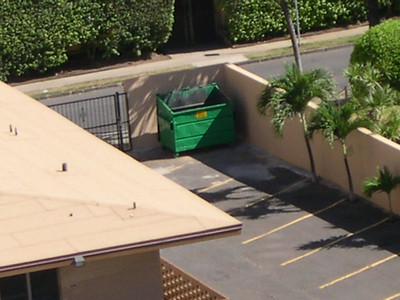 Shoulda paid extra for ocean view.  Got dumpster view instead.
