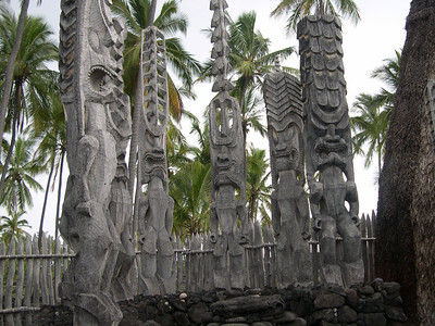 Tikis at the Pu'ohonua Honaunau