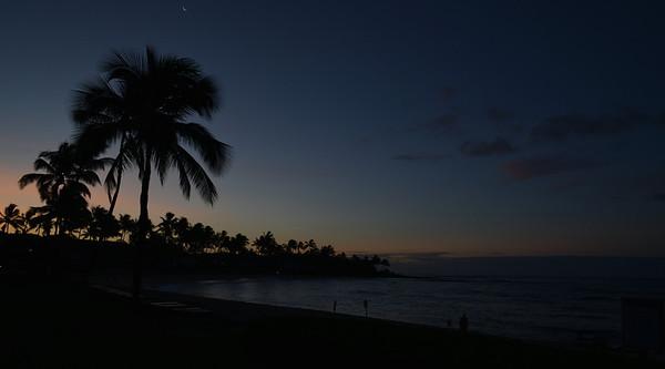 Pre-dawn on Kauai, with tiny crescent moon.