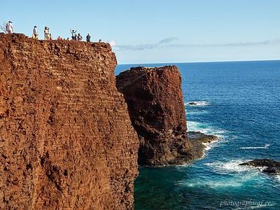 Linda on cliff on Lanai
