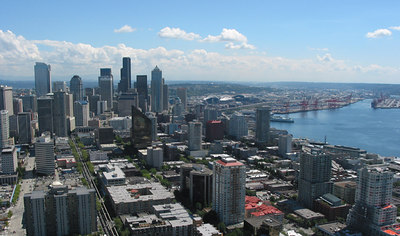 Seattle CBD,sports arenas and port (taken from the Space Needle)
