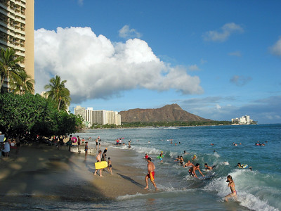 The view from the beach in the front of the Hotel I stayed it, with Diamond Head in the background.