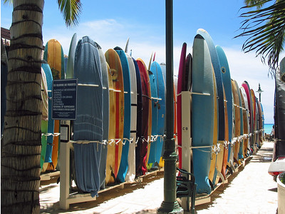 The surf board 'park' at Waikiki