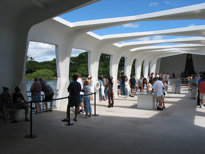 Inside the USS Arizona memorial.