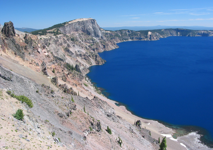 The crater wall at Crater Lake National Park, Southern Oregon.