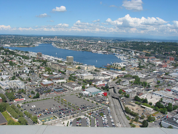 Seattle and Lake Union, looking north from the Space Needle.