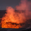 ...at night, the steam glows, lit by the molten magma in the open crater.  Shot from the Jaggar Museum Lookout.