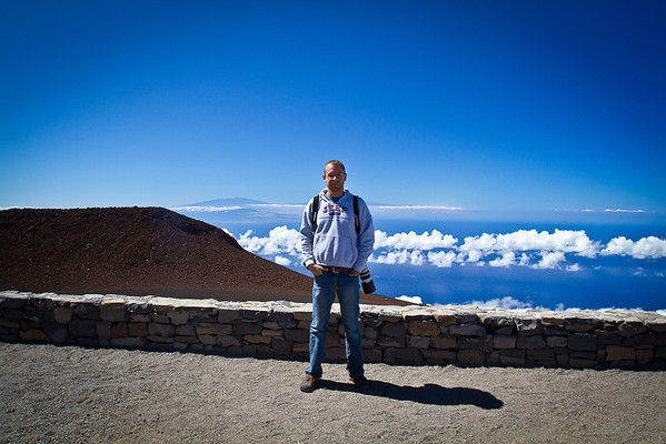 At the Summit.  It's kind of hard to see, but that island in the background is the big Island of Hawaii.