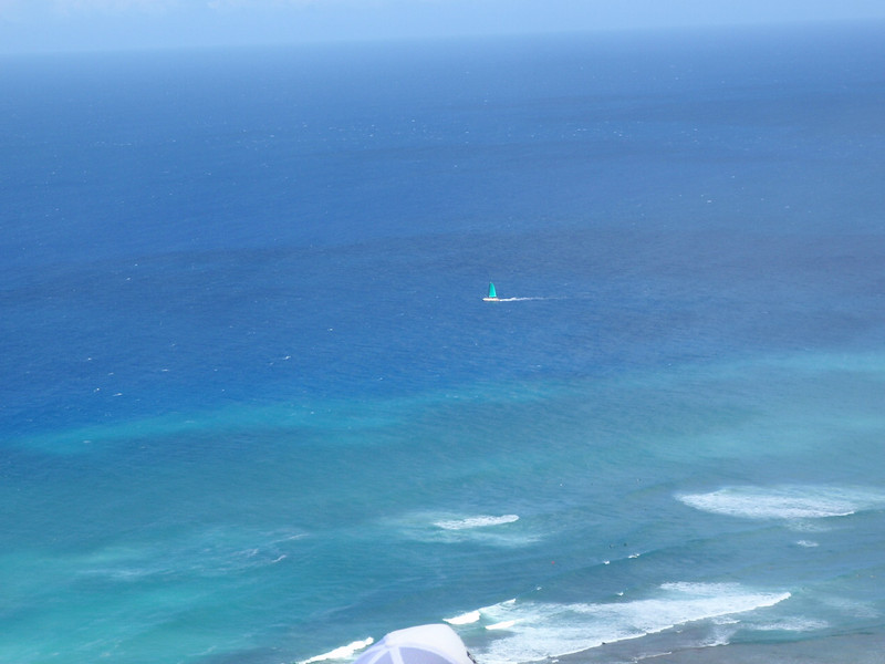 sailboat below Diamond Head