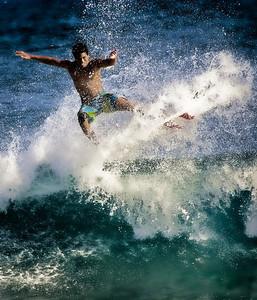 Random surfer dude, southeast Oahu, Sandy Beach Park.