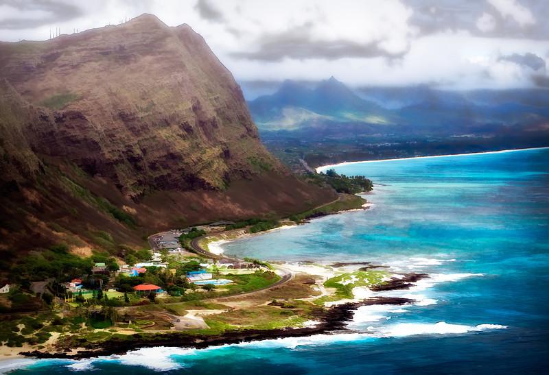 Eastern Oahu coastline. Watercolor view.