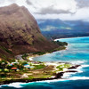 Eastern Oahu coastline. Watercolor view.
