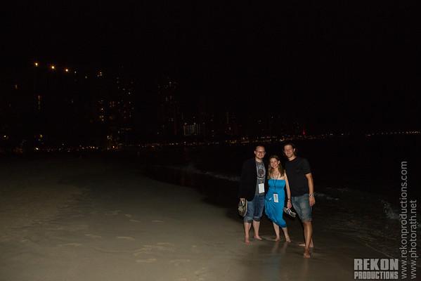 Night walking on the beach.