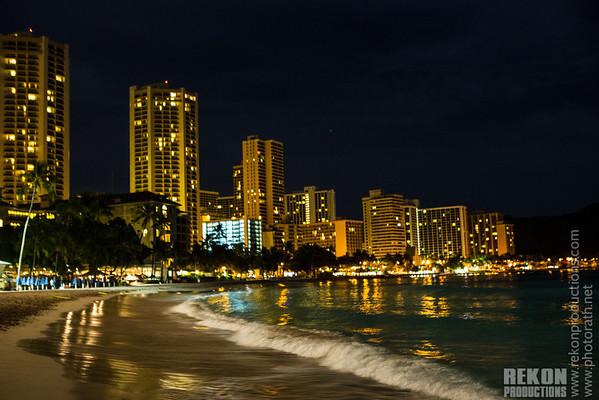 Waikiki hotels at night