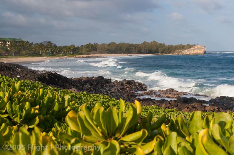 Shipwreck Beach at Poipu. South shore of Kauai.