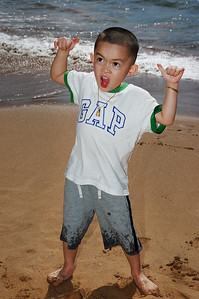 Dominick rocking out on the beach