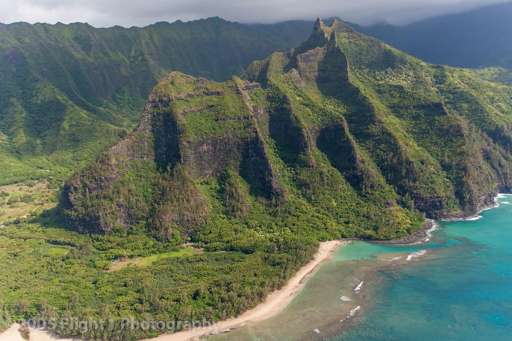 Beautiful Kauai from the air, over Ke'e Beach and Hula Heiau